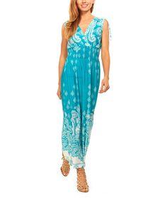 Green & White Paisley Smocked-Waist Surplice Maxi Dress