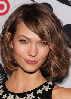"wavy/tousled bob, chin length, side bangs""Ask for ""a classic bob that's even in one length all the way around the neck, but with long, soft layers"""