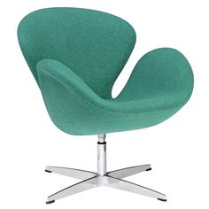 Arne Jacobsen Style Swan Chair in Green Fabric | Modern Armchair by Fine Mod Imports at Contemporary Modern Furniture  Warehouse - 1
