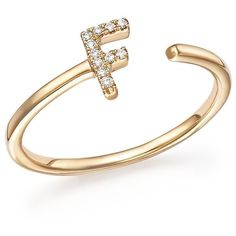 Gold Initial Ring Polyvore
