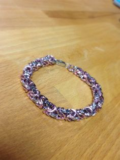 Square Full Auminum Silver and Pink Chainmaille by MelonLove