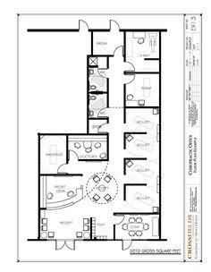 Chiropractic Office Floor Plan #Multi Doctor #Semi-open Adjusting 2072 gross sq. ft. http://www.chiropracticofficedesign.com