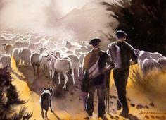 retour.jpg - Painting,  60x80 cm ©2014 by jean guy DAGNEAU -                                                            Figurative Art, Paper, Rural life, ombres et lumières