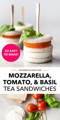These mozzarella, tomato, and basil tea sandwiches are so easy to make. They're also perfect for afternoon tea time snacking and for serving to guests during intimate parties. No cooking involved! It's all a matter of cutting ingredients and assembling. Click to follow the recipe guide. Cucumber Sandwiches, Finger Sandwiches, Tea Sandwiches, Basil Tea, Tomato Mozzarella, Tea Time Snacks, Ham And Cheese, Sandwich Recipes, High Tea