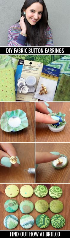 (Thumbtacks, too?) diy fabric button earrings - I've seen a couple of friends with these and they are REALLY cute!