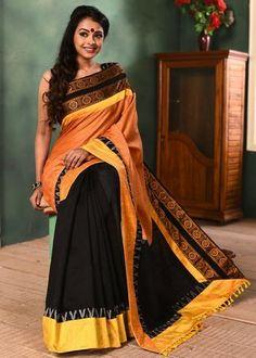 bf219daab5 Orange semi silk saree with black chanderi combination & exclusive  sambalpuri & ikat border