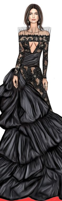Emily Ratajkowski in Peter Dundas at cannes 2017 digitaldrawing by David Mandeiro