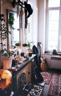 mantel decor full of candles. http://thatbohemiangirl.tumblr.com/post/45774203750/bohemian-decor