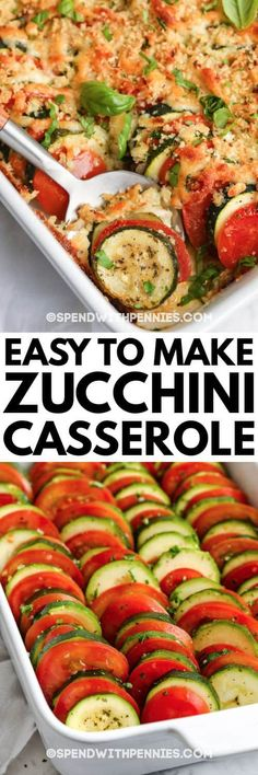 We can't get enough of this baked zucchini casserole. It's quick, simple and filled with zucchini, cherry tomatoes and onions for a delicious vegetarian option! #spendwithpennies #zucchinicasserole #sidedish #vegetarian #summersquash