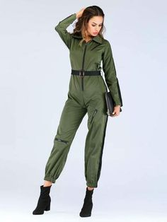 Cut And Sew Quarter Zip Belted Jumpsuit -SheIn(Sheinside) Revival Clothing, Women's Clothing, Designer Jumpsuits, Playsuit Romper, Blazer Fashion, Jumpsuits For Women, Autumn Fashion, Overalls, Dungarees