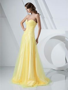 A-line Strapless Floor-length Tulle And Satin Evening/Prom Dress - USD $ 129.99