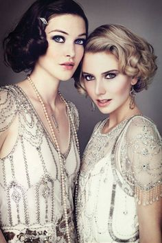 Lovely twenties/thirties look - get creative at home with rollers and your prettiest beaded dress!
