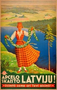 Travel Around Beautiful Latvia, 1930s - original vintage poster by A. Svedrevica listed on AntikBar.co.uk