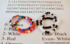 Pi Day Craft Activity: Make Pi-inspired bracelets from Pink Stripey Socks