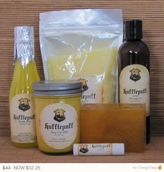 Harry Potter Themed Hufflepuff Gift Set - Bath Salt, Soy Candle, Soap, Lip Balm, Massage Oil and Bubble Bath