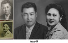 Before and after photo restoration at Restore.tv #photorepair #couple #love  #vintage  #retro #history #antique #blackandwhite #oldportrait #ooldphoto