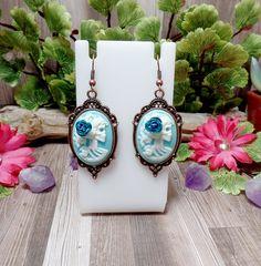 Blue Lolita Skull Earrings  Victorian Goth  by BohemianZenBoutique