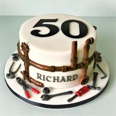 40th Birthday Cakes For Men, Cute Birthday Cakes, Dad Cake, 50th Cake, Puppy Cake, Retirement Cakes, Just Cakes, Novelty Cakes, Cupcake Cakes
