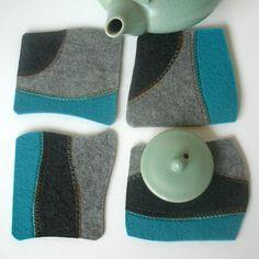 Felt Coasters in Gray Charcoal and Blue Merino by fuzzylogicfelt, $21.00
