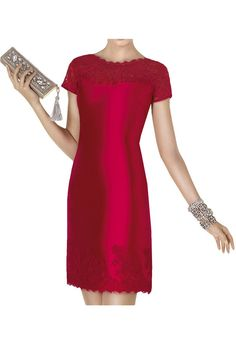 MissDressy Wonderful Mini Short Sleeves Sheath Satin Lace Homecoming Dress-26W-Red. Short dress design, sheath style. Short sleeves, lace detail. Suitable for an evening party, a formal or prom occasion. Dry-cleaning. All products are subject to material objects because the shooting light and setting of your computer screen may cause slight color mismatches.