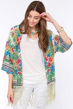 Roll the Paradise Floral Print Kimono Top at LuLus.com!
