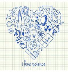 I love science doodles in heart vector