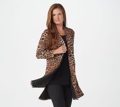 As Is Susan Graver Regular Printed Novelty Duster Cardigan Lisa Robertson, Susan Graver, Knit Cardigan, Stylish Outfits, Plus Size Outfits, Tweed, Kimono Top, Bell Sleeve Top