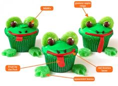 Frog Cupcakes made with Brown M&Ms, Spearmint Leave, Gummy Apple Rings, Red Licorice Laces, and Fruit by the Foot