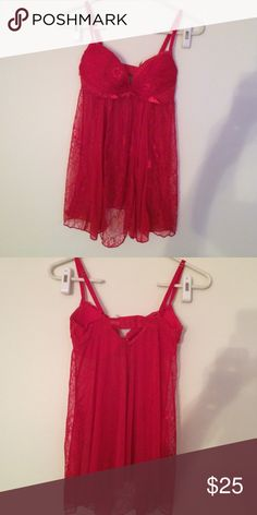 Red lace nightie Frederick's of Hollywood sexy teddy. Never worn. Frederick's of Hollywood Intimates & Sleepwear Chemises & Slips