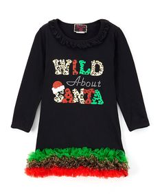 Look at this Black 'Wild About Santa' Shift Dress - Infant, Toddler & Girls on #zulily today!