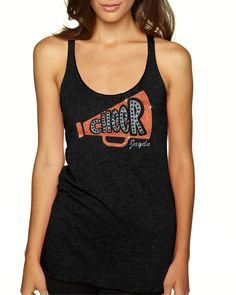 CHEER w/ MEGAPHONE - Racerback Tank Top  Welcome to TNT Custom Apparel's Shop   This listing is for one Ladies Triblend Jersey Racerback Tank Top with the design CHEER/Megaphone. This Ladies Triblend Racerback tank is truly a nice garment and is light weight.  Customers that have purchased feel i
