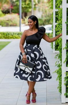ecstasymodels:  Ruffled ShoulderBlack & White High Waist Midi SkirtFashion By Sheque Style