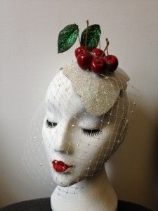 White Glitter Fascinator with veiling and topped with Cherries #TheCakeCollection www.pearlsandswine.com