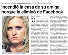 I think it basically reads: set her friend's house on fire because she deleted her on Facebook. Wow. That escalated quickly.