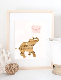 Vintage Music Sheet Baby Elephant Trumpet Animal Watercolor Nursery Baby Girl Kid Children's Room Gift