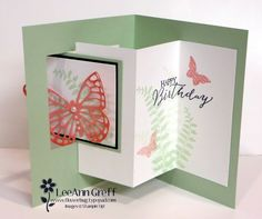 Butterfly Pop-Out Window Fun Fold card ... video tutorial ... luv it and the soft colors she chose ...