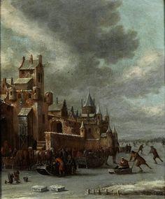 Thomas Heeremans (Dutch, 1640–1697) Title: EISVERGNÜGEN VOR EINER STADTMAUER