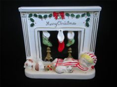 """Merry Christmas""--Vintage VHTF Napco Christmas Pajama Boy Cat Dog Fireplace Planter AX4558"