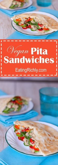 These simple vegan pita sandwiches are packed with fresh veggies & hummus, making them the perfect easy healthy breastfeeding recipe for new moms. From EatingRichly.com