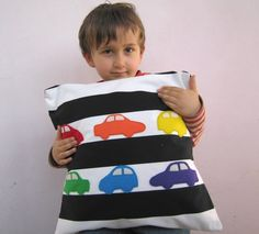 Nursery decor: kids pillow cover - rainbow cars on black and white stripes, great childrens gift baby or little boy