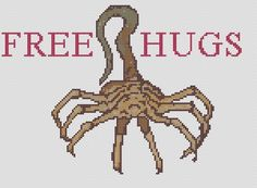 (10) Name: 'Embroidery : Facehugger free hugs cross stitch