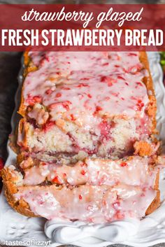 Have fresh garden strawberries? Try this fresh strawberry bread with melt-in-your-mouth strawberry glaze. This quick bread recipe comes together in just 10 minutes. #strawberry #strawberries #fruit #bread #quickbread #recipes via @tastesoflizzyt