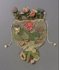 Drawstring bag, ivory fancy openwork netted ground, bibila flowers in relief, bibila flower tassel. MFA Boston