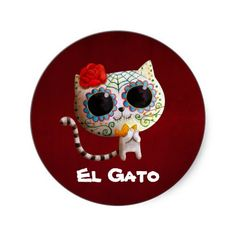Cat of Day of The Dead Round Sticker