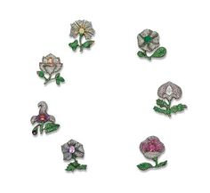 A Magnificent Set of Seven Diamond and Gem-Set Moghul Flower Brooches, by JAR, made in 1987 Photo courtesy of Christie's