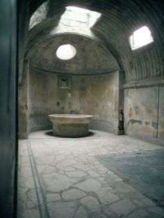 Baths, Pompeii, Italy  These people were ingenious, a steam bath with an arched ceiling so the water runs down the walls instead of dripping on your head!