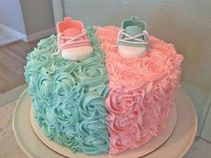 Pink & Blue Rosette Gender Reveal Cake with Fondant Baby Converse shoes.