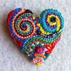 Freeform embroidery bright floral Heart brooch with by Lucismiles, $22.00