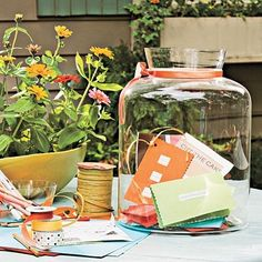 Memory Jar: A super cute idea for Wedding Showers/ Baby Showers/ Anniversary Parties/ Birthday Parties parties-entertaining-gift-giving Wedding Guest Book, Our Wedding, Wedding Ideas, Wedding Stuff, Wedding Inspiration, Dream Wedding, Wedding Wishes, Perfect Wedding, Luau