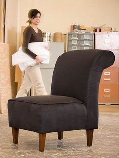A clunky, outdated chair desperately cries for a fabric makeover: If you have basic sewing skills, you can master these common upholstering techniques. Chair Reupholstery, Reupholster Furniture, Upholster Chair, Armchair Slipcover, Living Room Upholstery, Furniture Upholstery, Paint Upholstery, Upholstery Cushions, Upholstery Cleaner